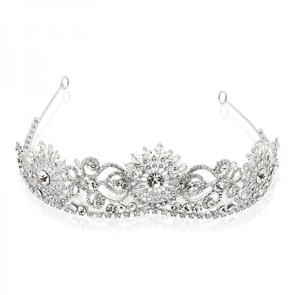 Coroa com Banho de Ródio Cristais Swarovski e Cristal