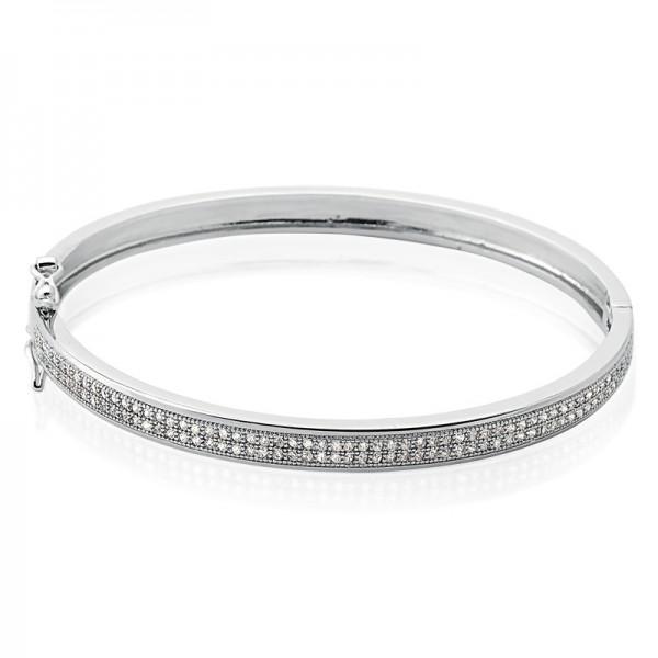 Bracelete Semi Joia em Prata com Banho de Ródio e Micro Cravação de Zircônias