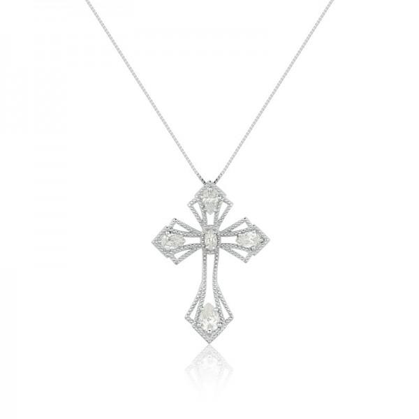 Colar Crucifixo, Semi Joia em Prata, Banho de Ródio, Cristais e Cravação de Zircônias