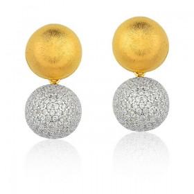 Brinco semi joia banhado a ouro 18K fosco cravejado em Zircônias