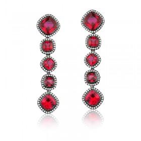 Brinco semi joia em prata com banho de ródio, cristal vermelho e cravejado de zircônias