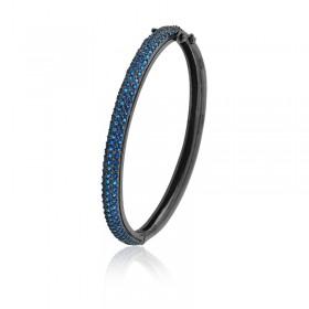 Bracelete Semi Joia com Banho de Ródio Negro e Cravejado de Zircônias Safira