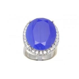 Anel Semi Joia em Prata, Banho de Ródio, Cristal Azul e Cravação de Zircônias