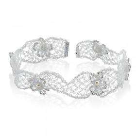Tiara ou headband bordado de metal com pérolas