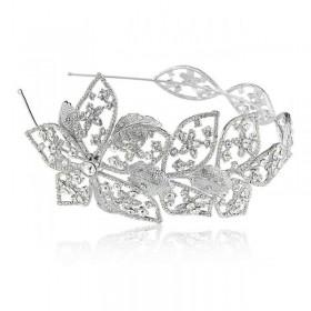Tiara para noiva com banho de ródio e cristais swarovski